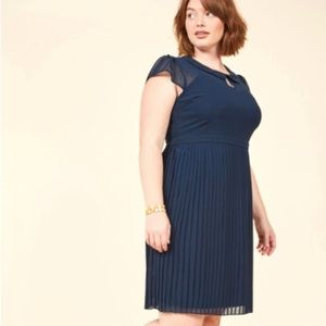ModCloth Expansive Interests Pleated A Line Dress